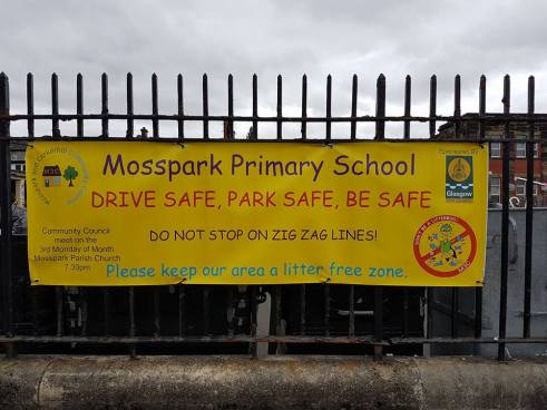 Banner outside Mosspark Primary School
