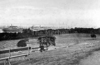 View of the park looking northwards, with Govan docks in distance